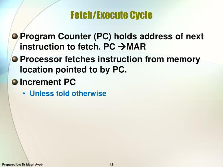 Fetch/Execute Cycle
