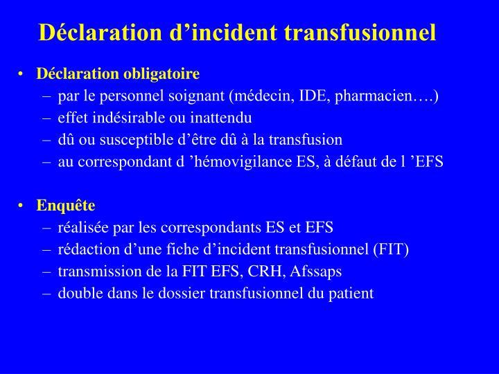 Déclaration d'incident transfusionnel