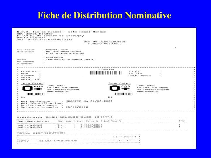Fiche de Distribution Nominative