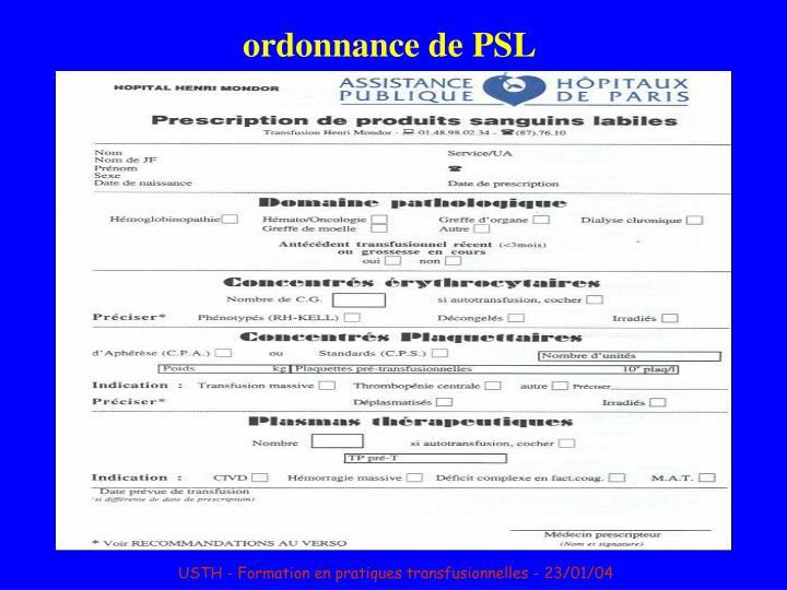 ordonnance de PSL