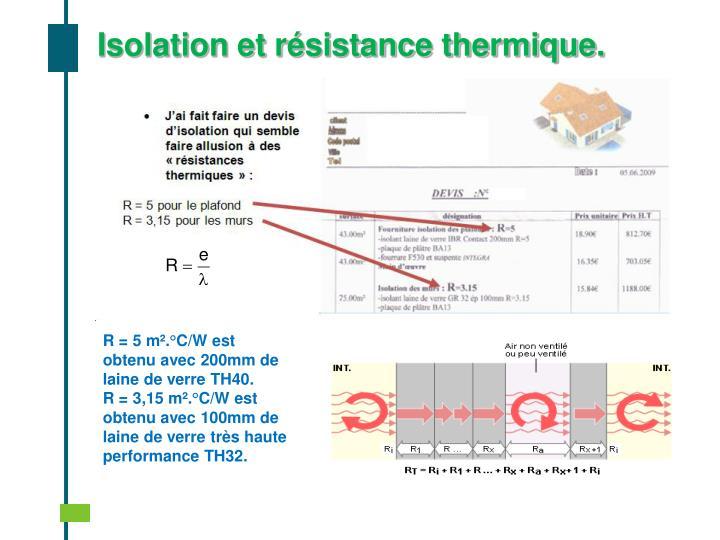 Isolation et résistance thermique.