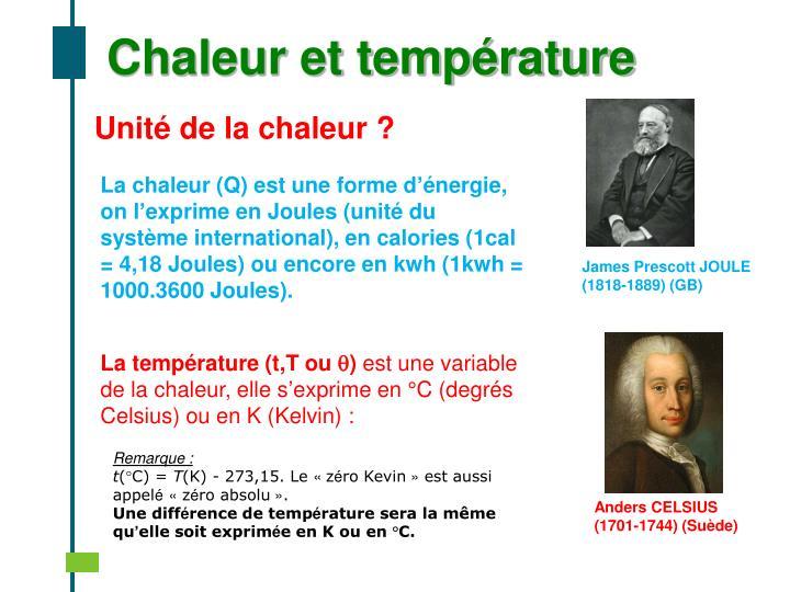 Chaleur et température