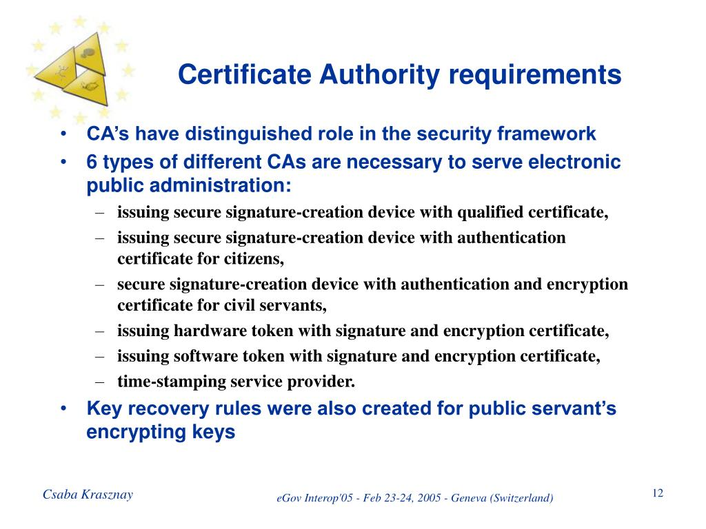 Certificate Authority requirements