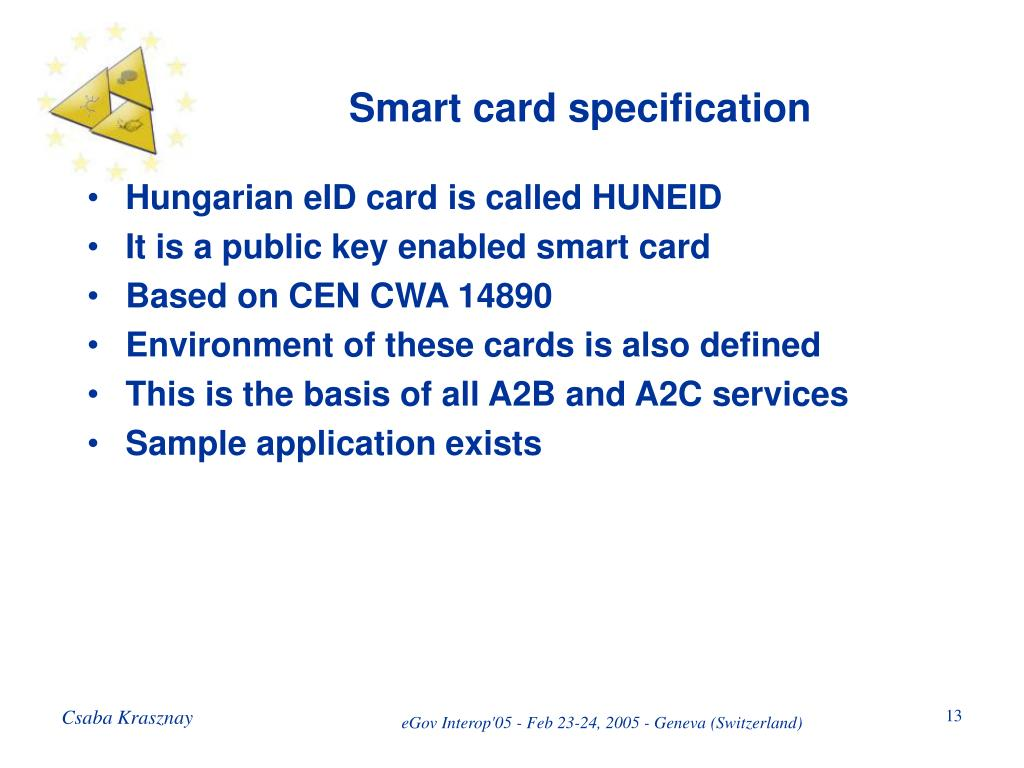 Smart card specification