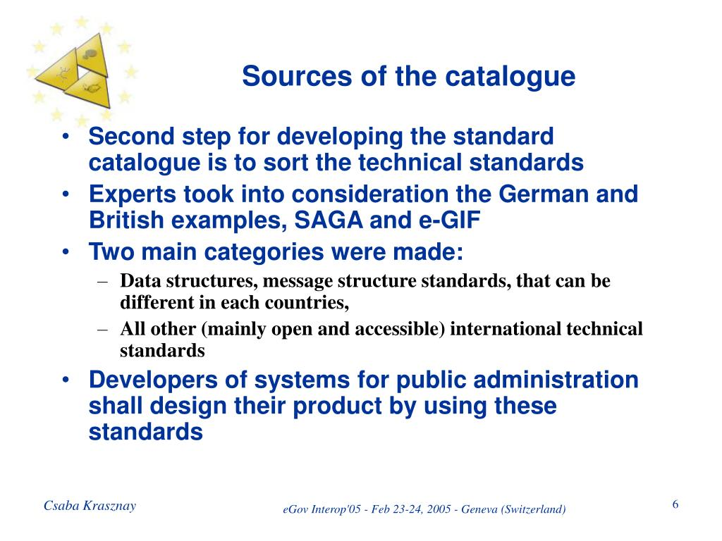 Sources of the catalogue