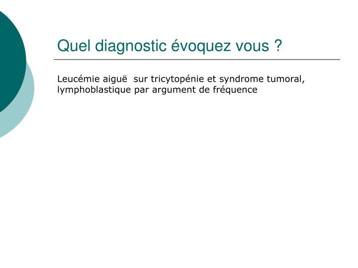 Quel diagnostic évoquez vous?