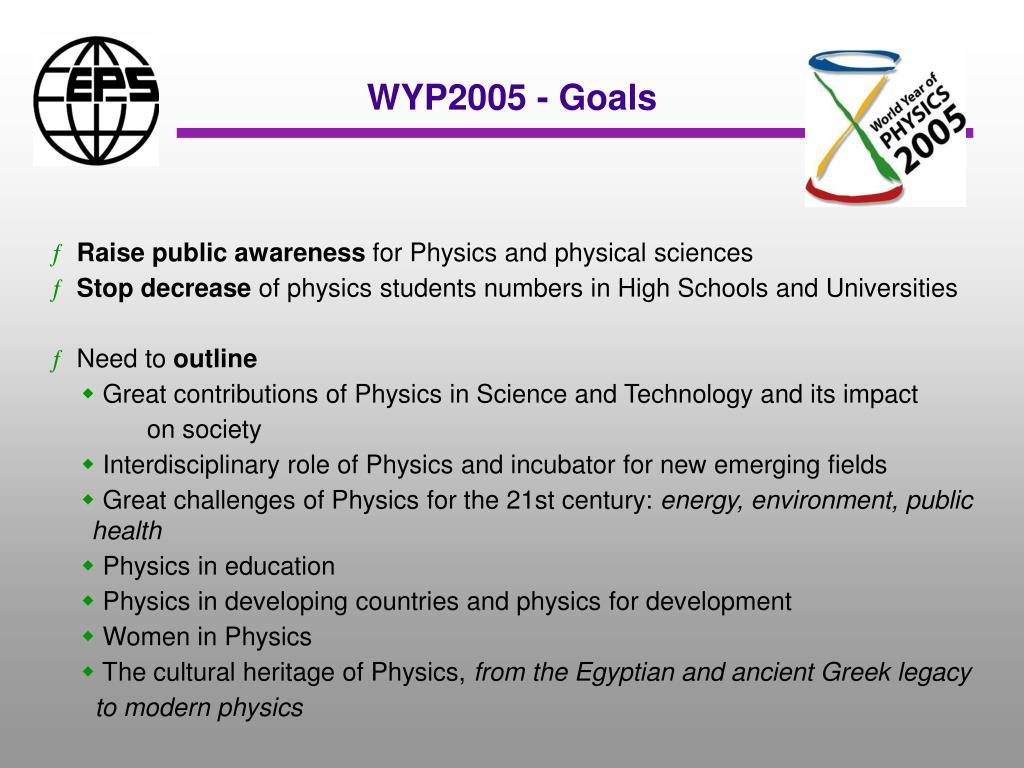 WYP2005 - Goals