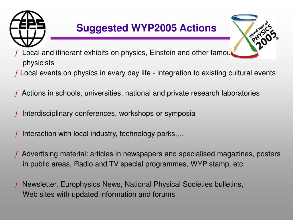 Suggested WYP2005 Actions