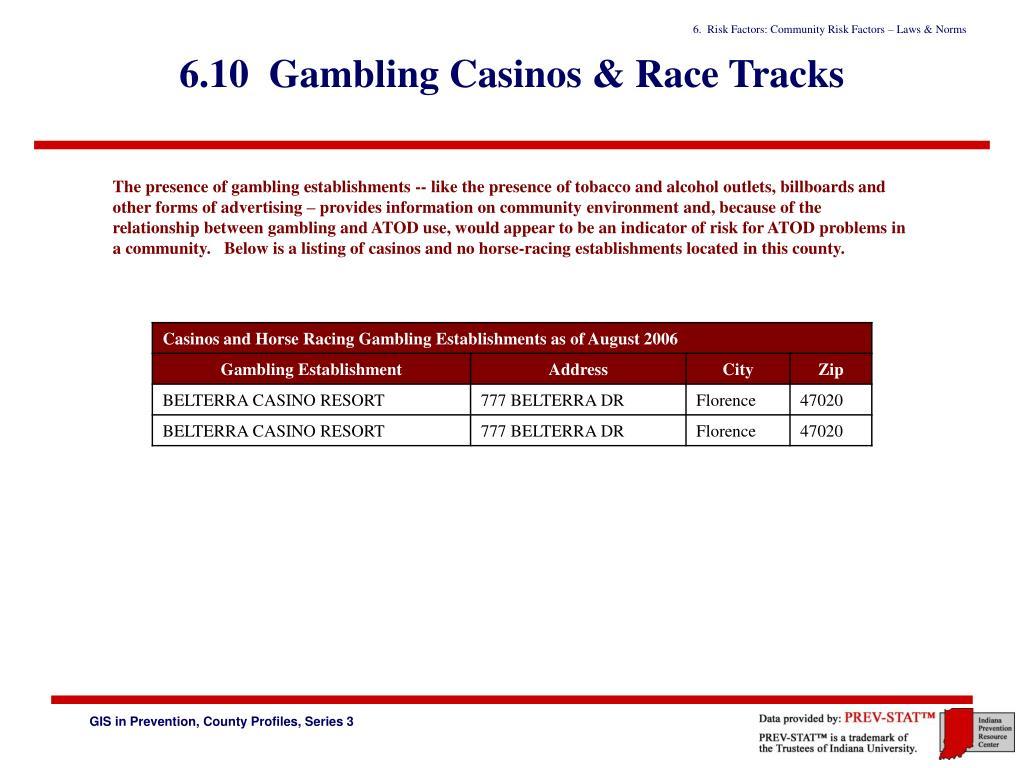 6.10  Gambling Casinos & Race Tracks