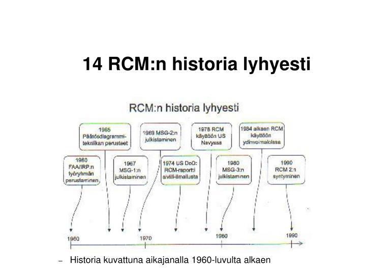 14 RCM:n historia lyhyesti
