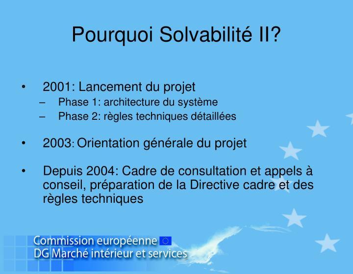 Pourquoi Solvabilité II?