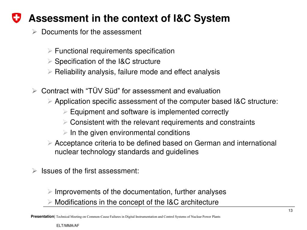 Assessment in the context of I&C System