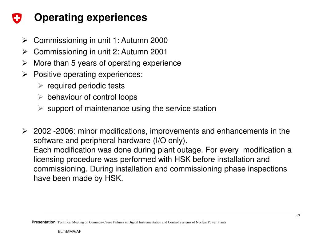 Operating experiences