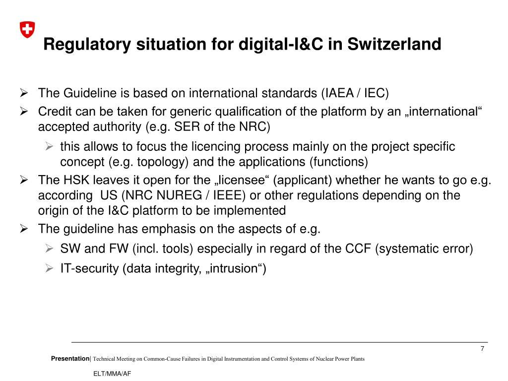 Regulatory situation for digital-I&C in Switzerland