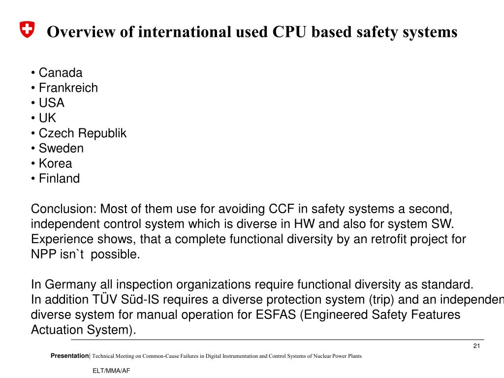 Overview of international used CPU based safety systems