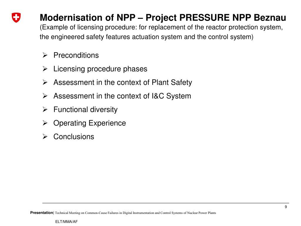 Modernisation of NPP – Project PRESSURE NPP Beznau