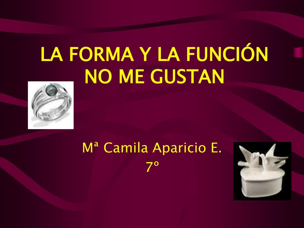 LA FORMA Y LA FUNCIÓN NO ME GUSTAN