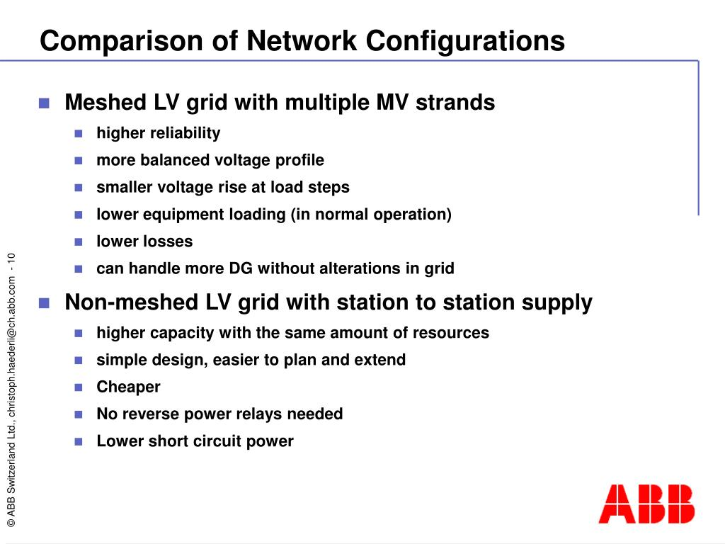 Comparison of Network Configurations