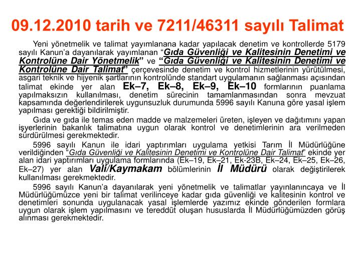 09.12.2010 tarih ve 7211/46311 sayılı Talimat