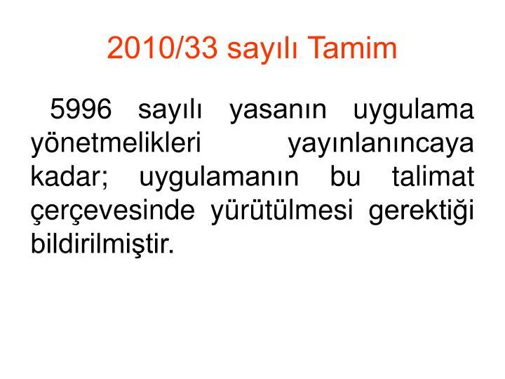 2010/33 sayılı Tamim