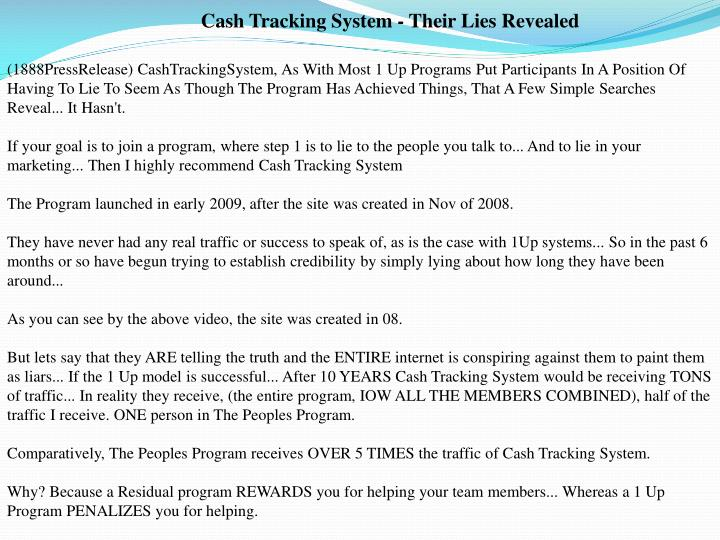 Cash Tracking System - Their Lies Revealed