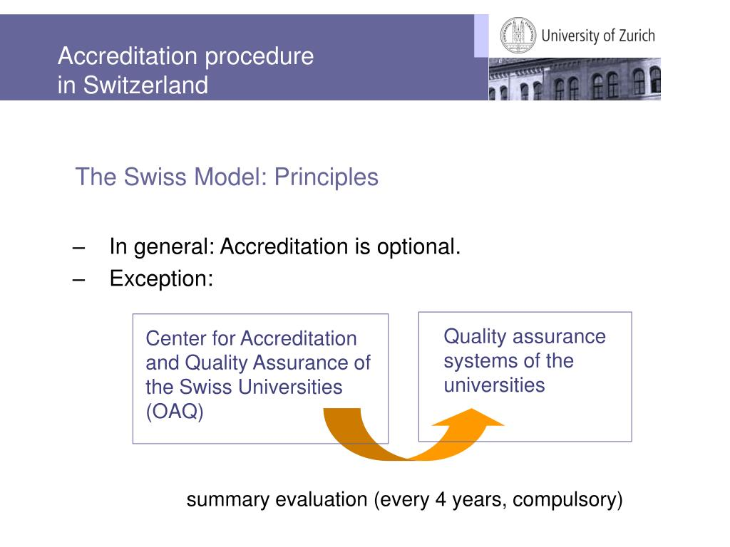 Accreditation procedure