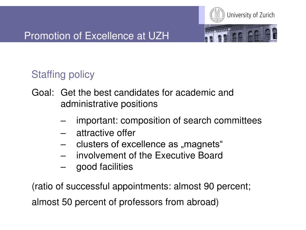 Promotion of Excellence at UZH
