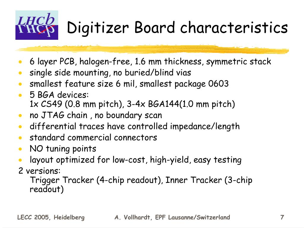 Digitizer Board characteristics