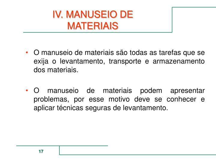 IV. MANUSEIO DE MATERIAIS