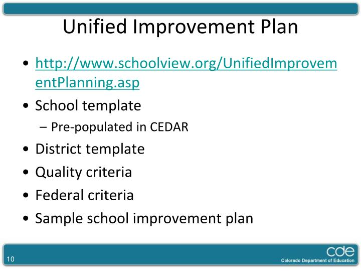 Unified Improvement Plan