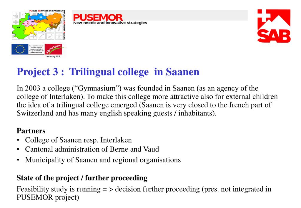 Project 3 : Trilingual college  in Saanen