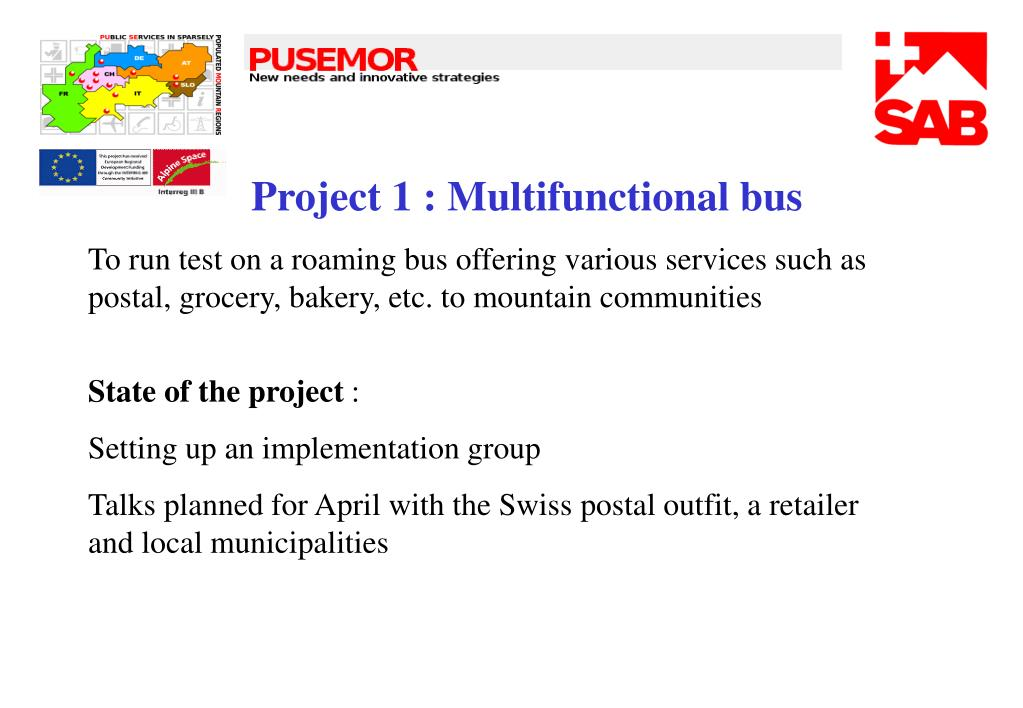 Project 1 : Multifunctional bus