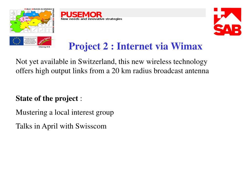 Project 2 : Internet via Wimax
