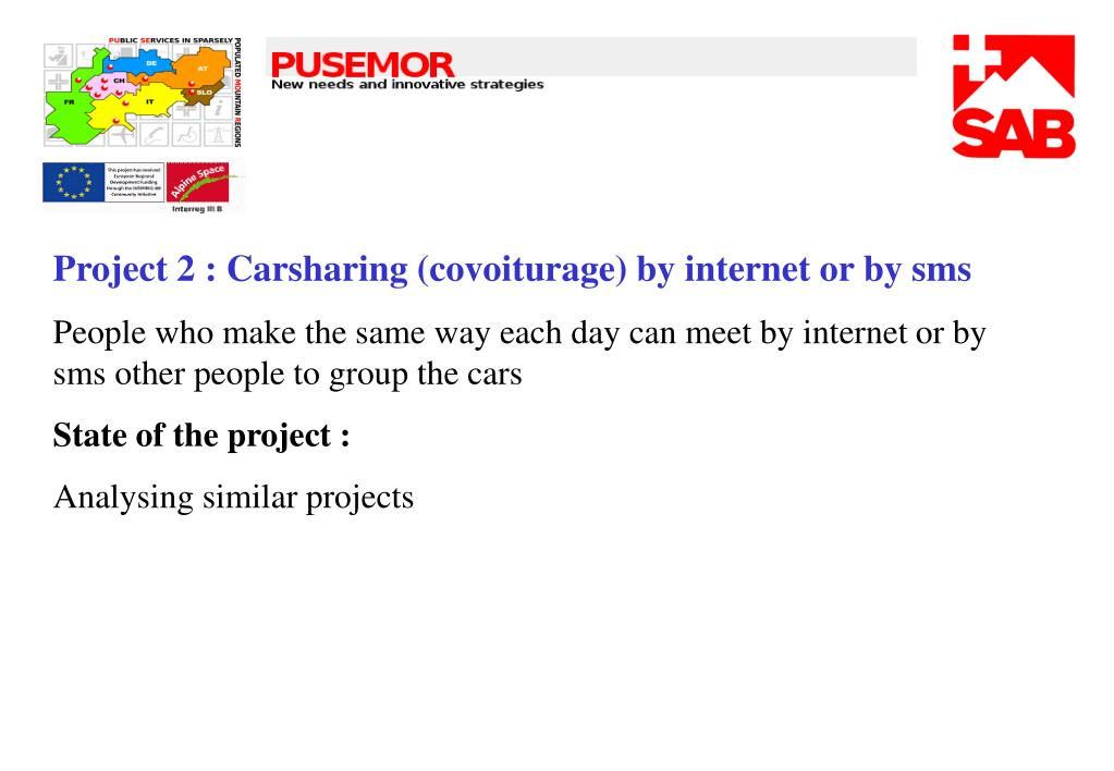Project 2 : Carsharing (covoiturage) by internet or by sms