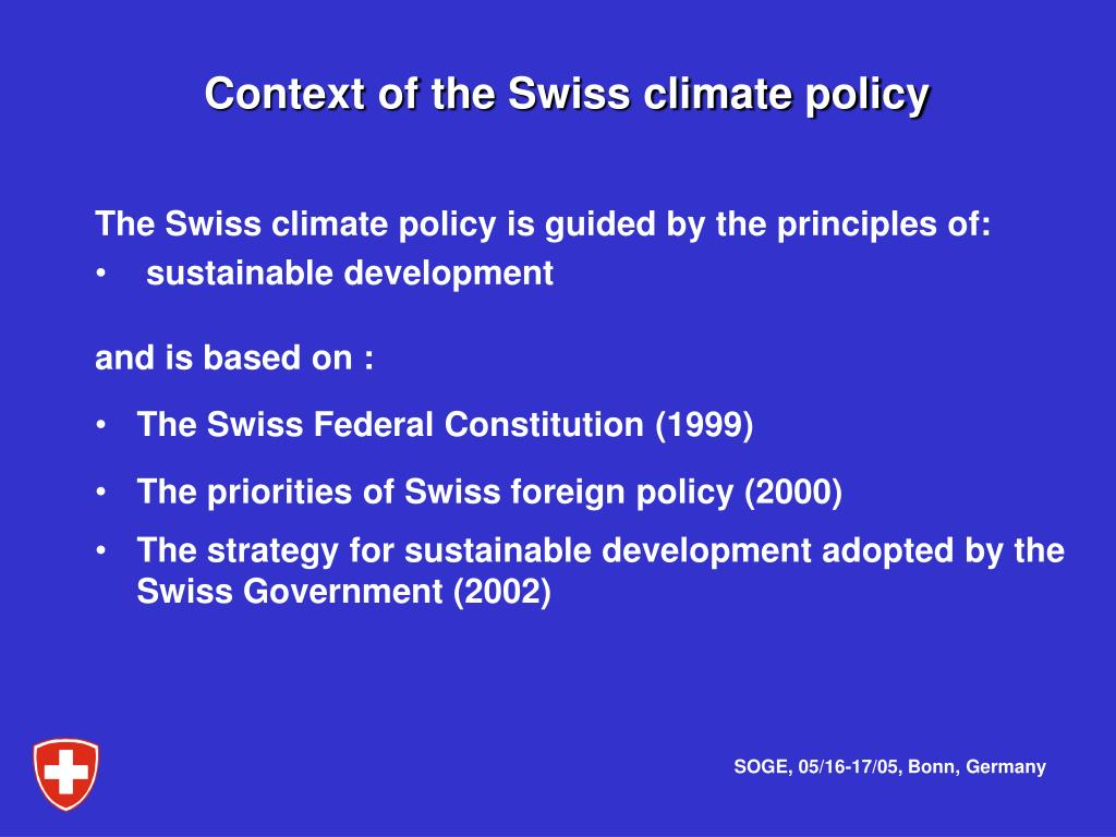 Context of the Swiss climate policy