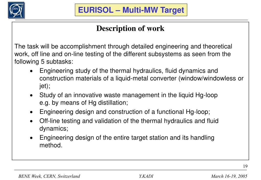 EURISOL – Multi-MW Target