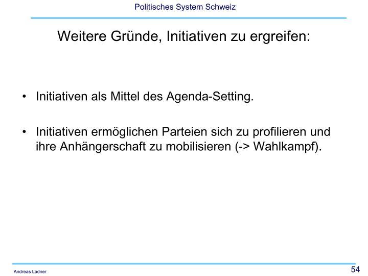 Initiativen als Mittel des Agenda-Setting.