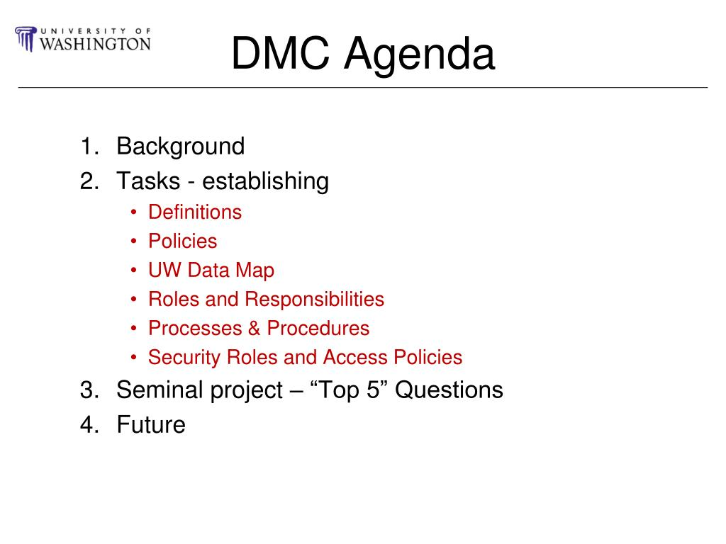 DMC Agenda