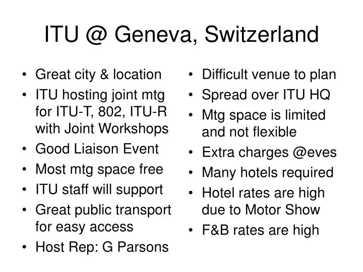 Itu @ geneva switzerland
