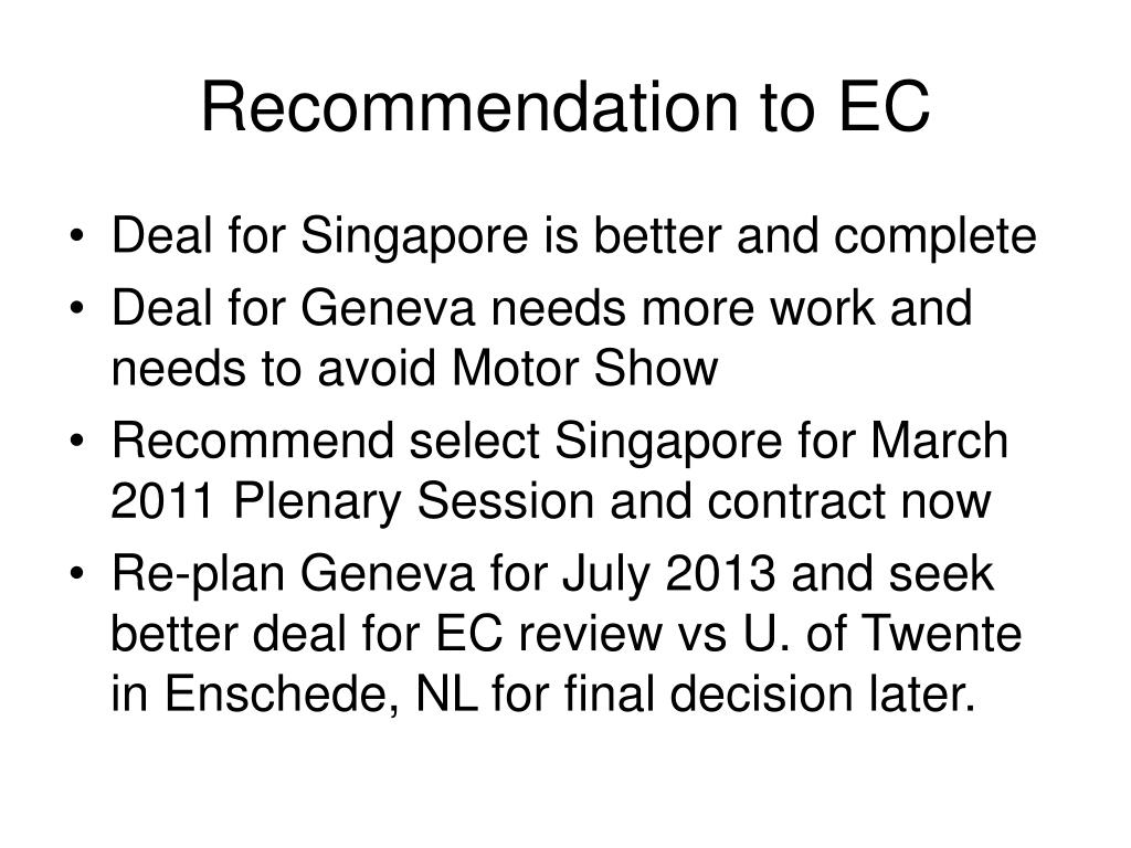 Recommendation to EC