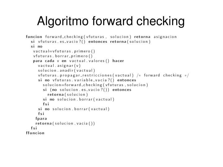 Algoritmo forward checking