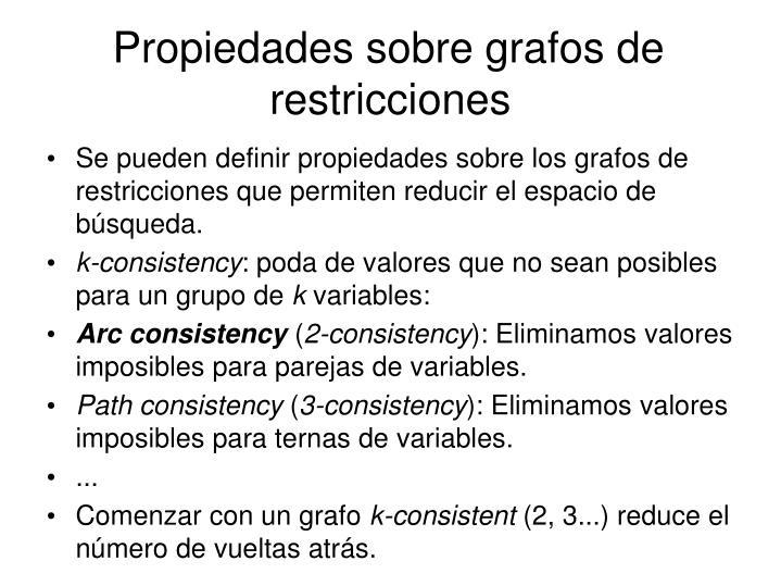Propiedades sobre grafos de restricciones