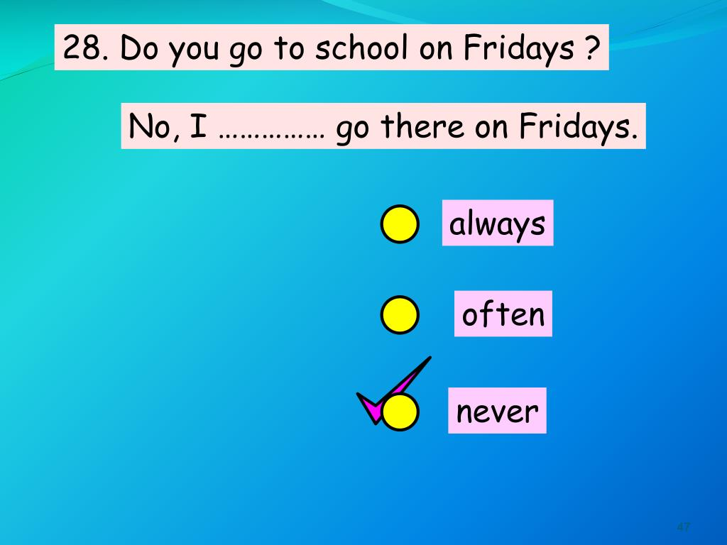 28. Do you go to school on Fridays ?