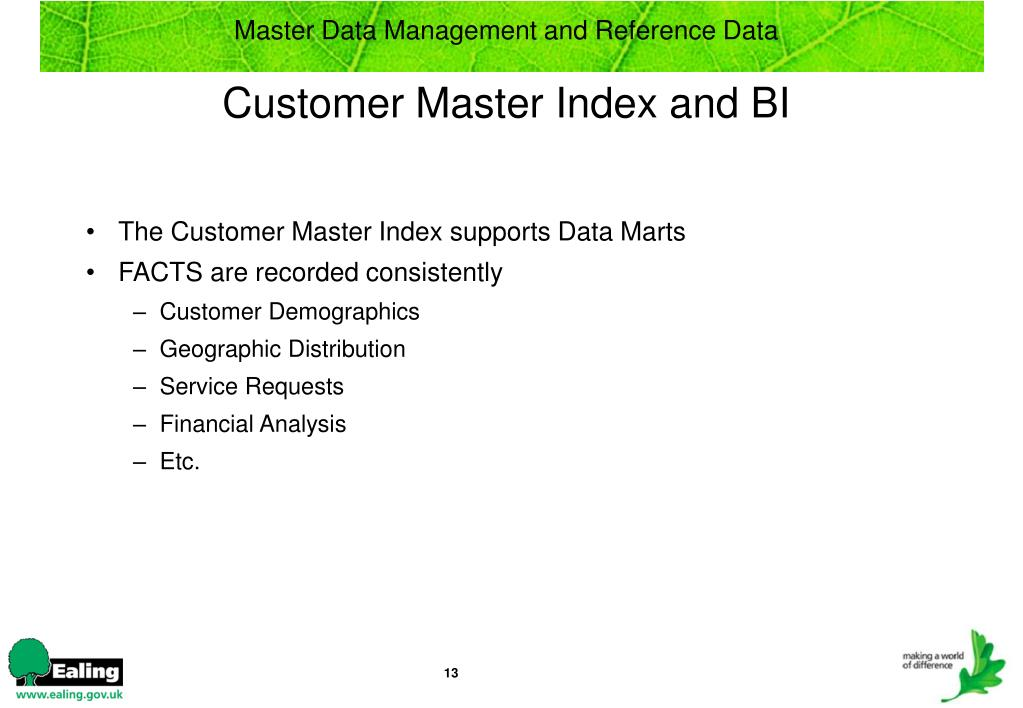 Master Data Management and Reference Data