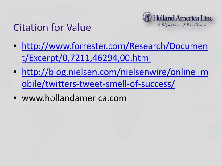 Citation for Value