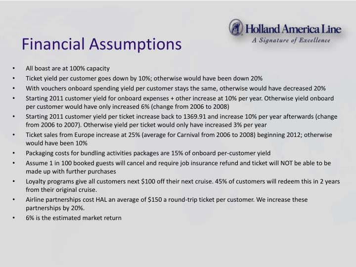 Financial Assumptions