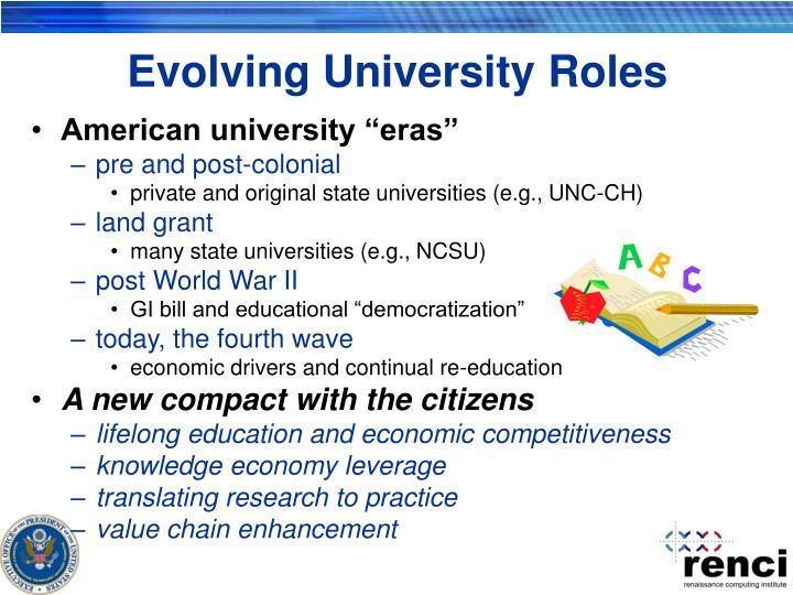 Evolving University Roles