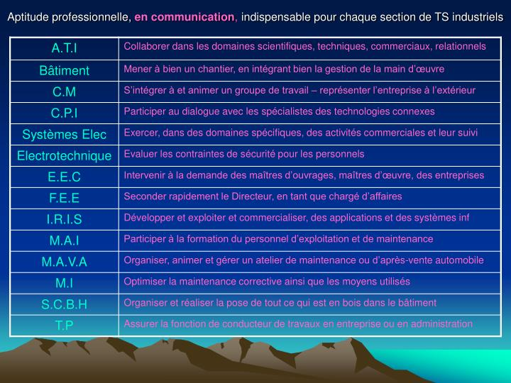 Aptitude professionnelle en communication indispensable pour chaque section de ts industriels