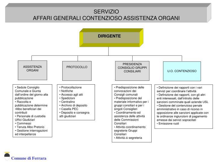 Servizio Affari Generali Contenzioso Assistenza Organi