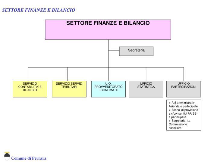 SETTORE FINANZE E BILANCIO